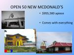 open 50 new mcdonald s