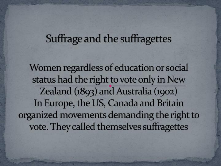 Suffrage and the suffragettes