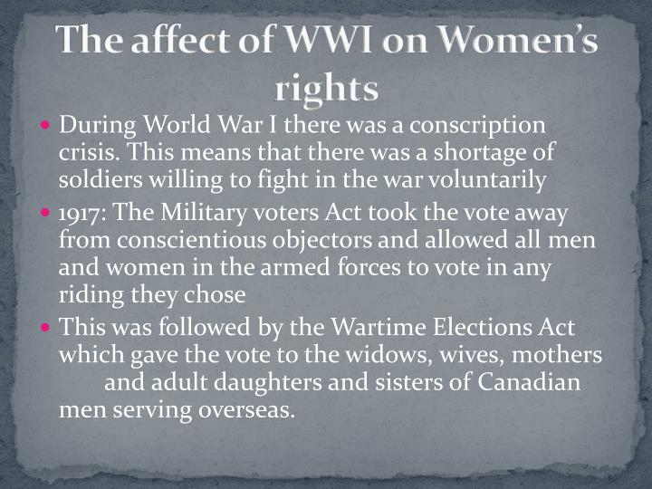The affect of WWI on Women's rights