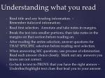 understanding what you read