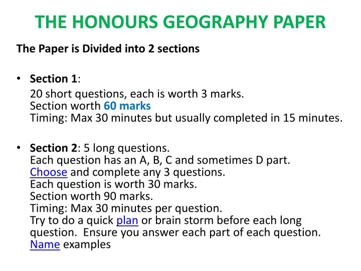 the honours geography paper n.