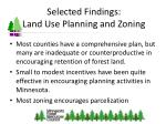 selected findings land use planning and zoning