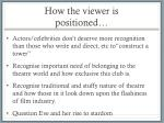 how the viewer is positioned