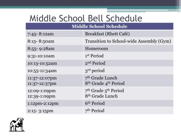 Middle School Bell Schedule