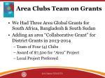 area clubs team on grants