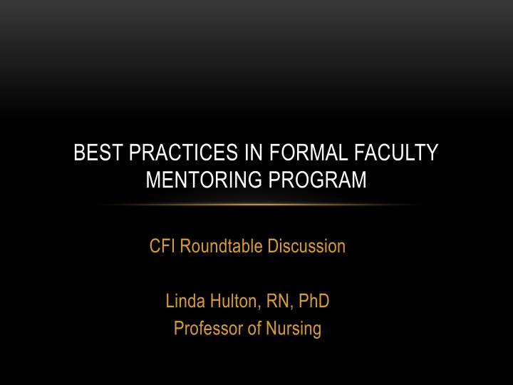 best practices in formal faculty mentoring program n.
