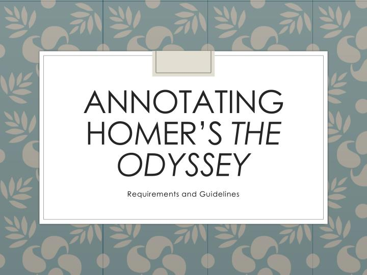 annotating homer s the odyssey n.