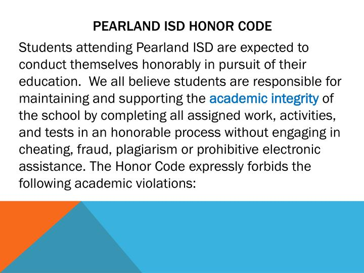 Pearland ISD Honor code