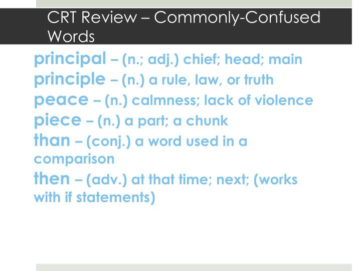 CRT Review – Commonly-Confused Words