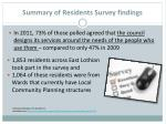 summary of residents survey findings