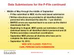 data submissions for the p file continued