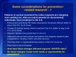 some considerations for prevention related research 1