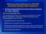 what are some resources for hiv std prevention among latino migrants