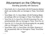 attunement on the offering standing possibly with gesture