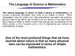 the language of science is mathematics