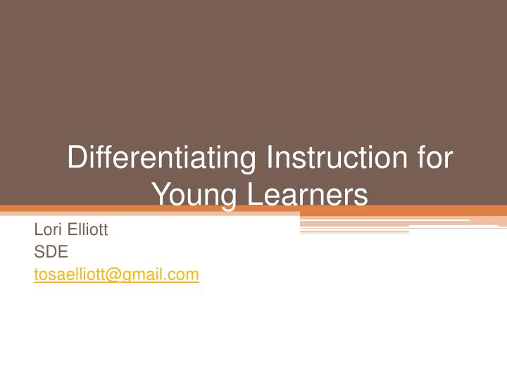 differentiating instruction for young learners n.