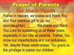 prayer of parents for their youth
