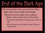 end of the dark age