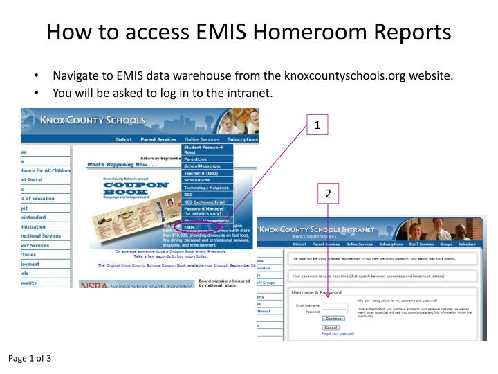 how to access emis homeroom reports n.