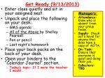 get ready 9 13 2013