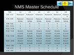 nms master schedule