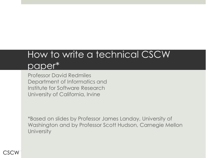 how to write a technical cscw paper n.