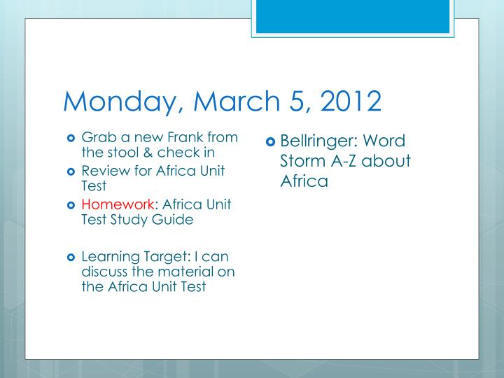 monday march 5 2012 n.