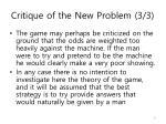 critique of the new problem 3 3