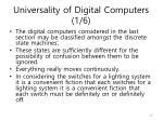 universality of digital computers 1 6