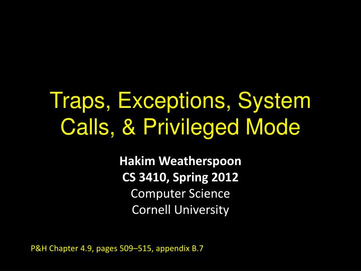 traps exceptions system calls privileged mode n.