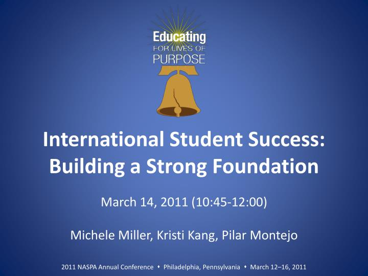 international student success building a strong foundation n.