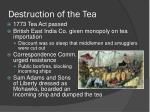 destruction of the tea