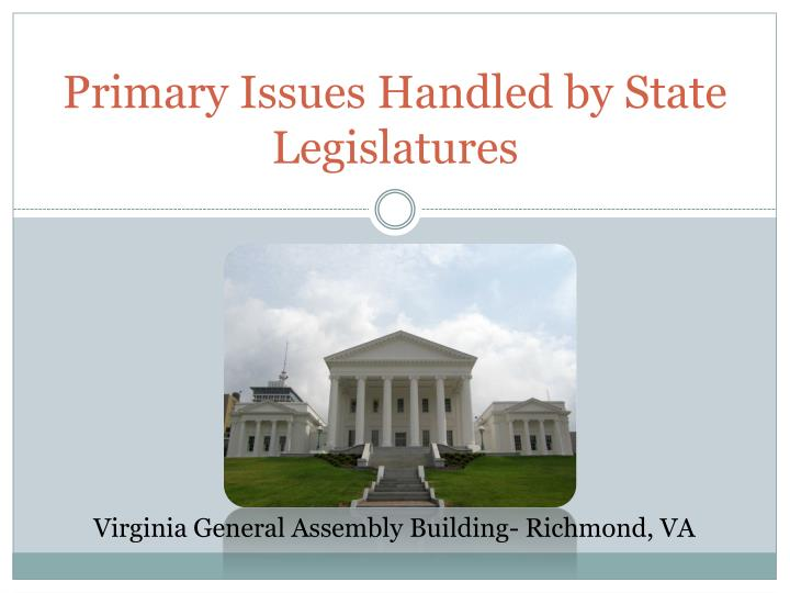 primary issues handled by state legislatures n.