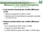 missouri s tax credit exemptions 4 21 10 meeting with governor