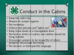 conduct in the cabins