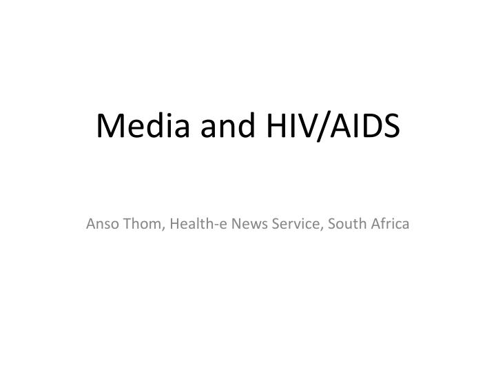 media and hiv aids n.