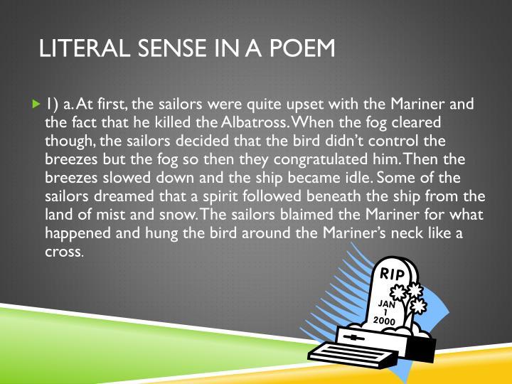 Literal sense in a Poem
