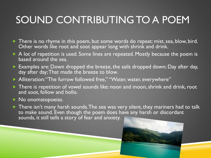 Sound contributing to a poem