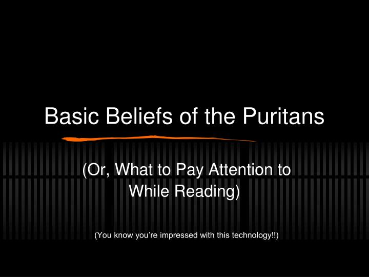 basic beliefs of the puritans n.