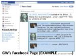gw s facebook page example not to be included in final ppt