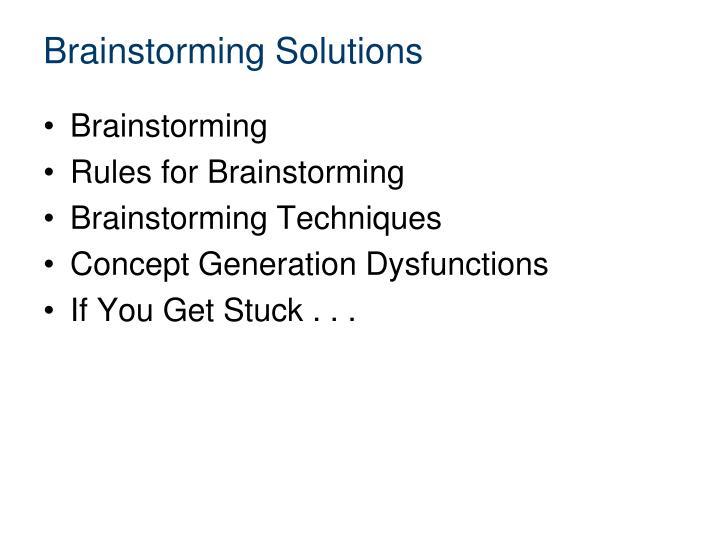 Brainstorming Solutions
