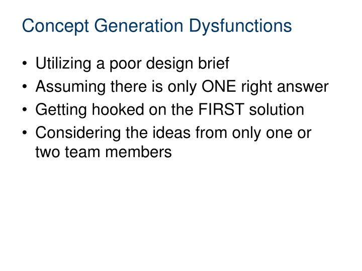 Concept Generation Dysfunctions