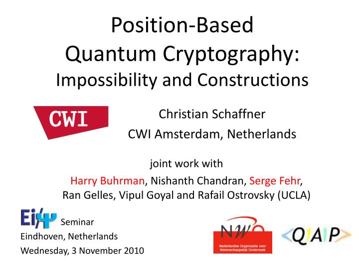 position based quantum cryptography impossibility and constructions n.