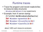 runtime traces