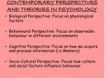 contemporary perspectives and theories in psychology