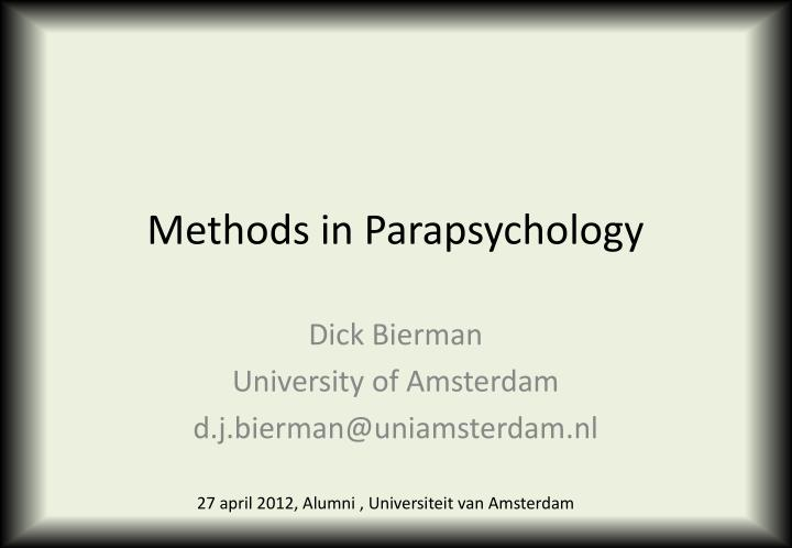 methods in parapsychology n.