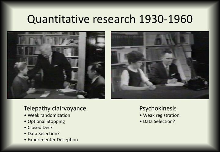 Quantitative research 1930-1960
