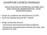 ouverture licences federales