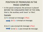 position of pronouns in the passe compose