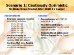 scenario 1 cautiously optimistic no reductions needed after 2010 11 budget